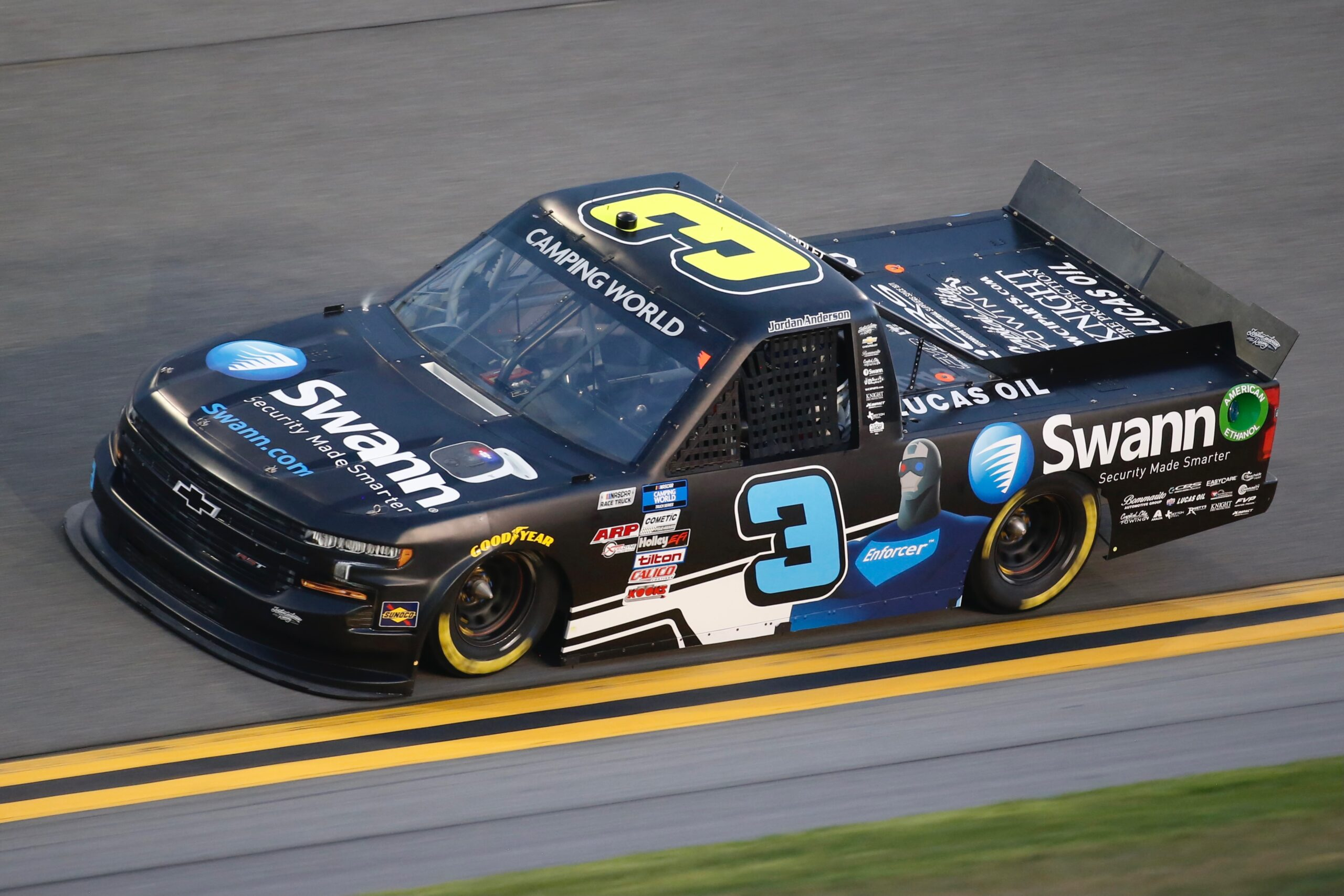 NOW AVAILABLE FOR ORDER; 2021 Jordan Anderson No. 3 Swann Security Chevrolet Silverado Daytona Race Version Diecast